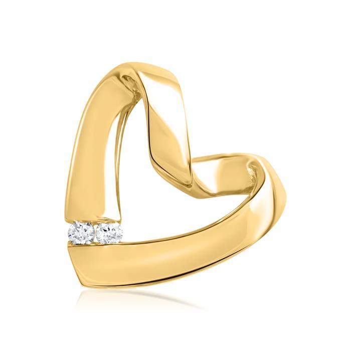 585er Gelbgold-Anhänger 2 Diamanten