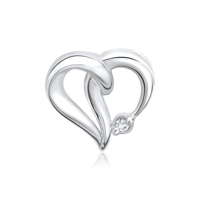 585er Weißgold-Anhänger Herz Diamant 0,0085 ct.