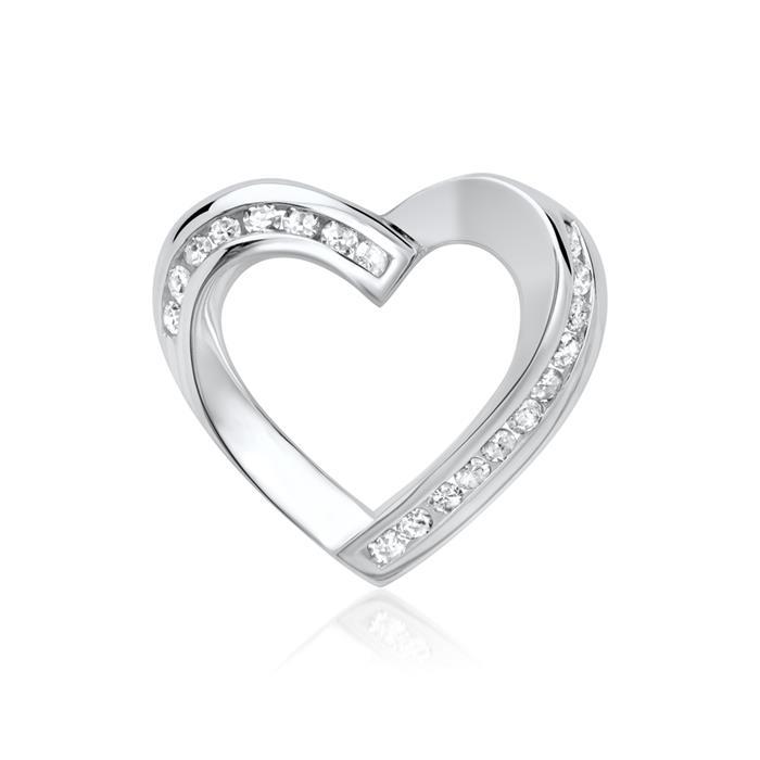 585er Weißgold-Kette Herz 19 Diamanten