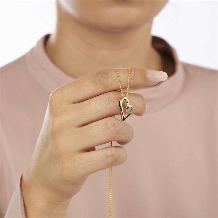 585er Gelbgold-Kette Herz Diamant 0,037 ct.