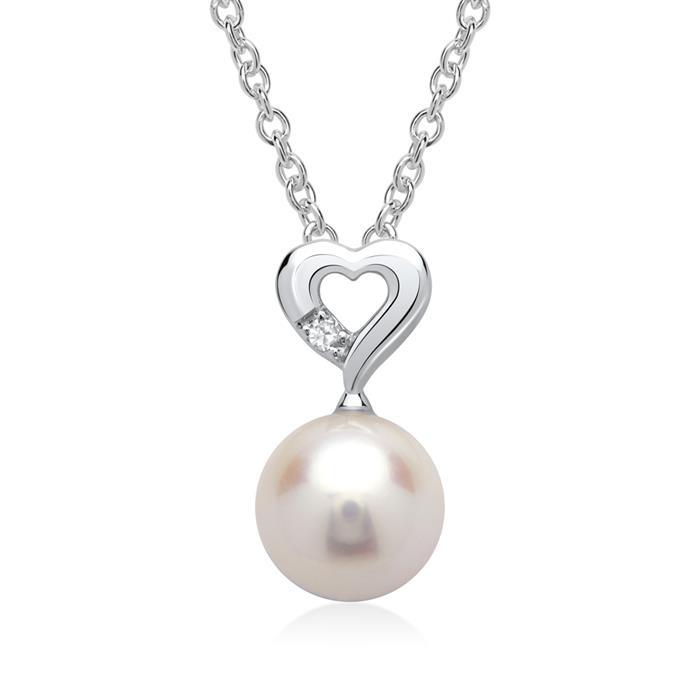 585er Weißgold-Anhänger Perle Diamant 0,0085 ct.