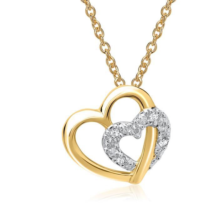 585er Gelbgold-Anhänger Herzen 4 Diamanten
