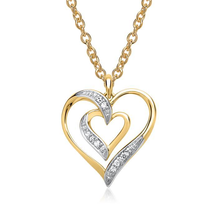 585er Gelbgold-Anhänger Herz 9 Diamanten