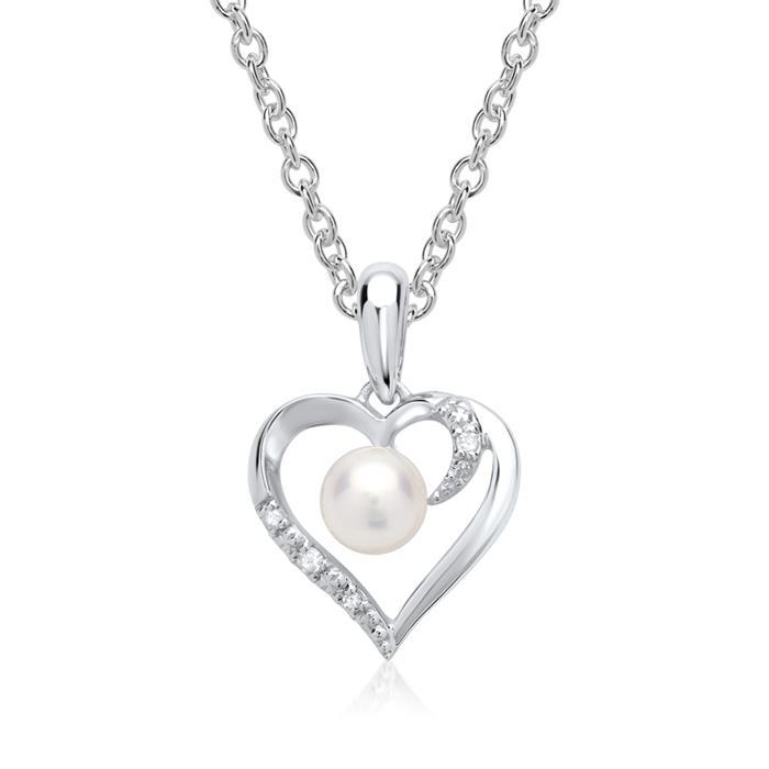 585er Weißgold-Anhänger Perle 4 Diamanten