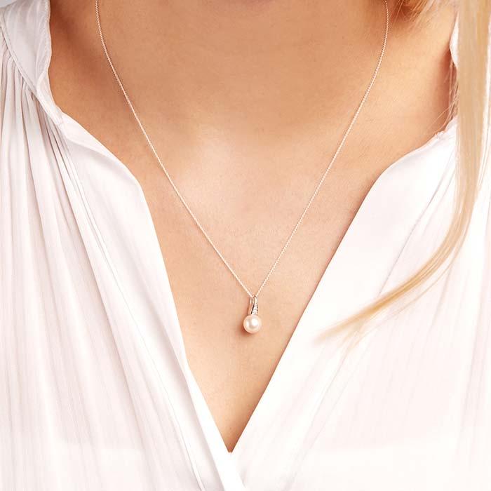 585er Weißgold-Kette Perle 2 Diamanten