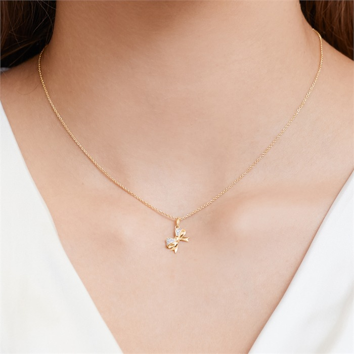 585er Gelbgold-Kette Schleife Diamant