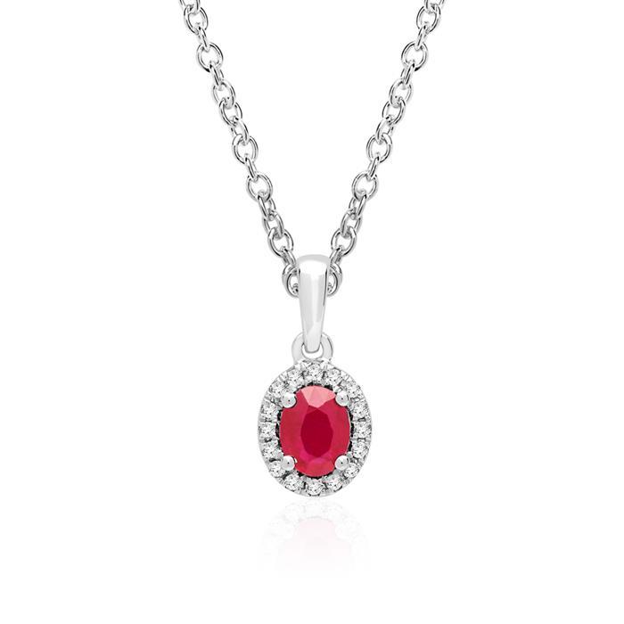 Kette Weißgold Rubin Diamanten 0,05 ct.