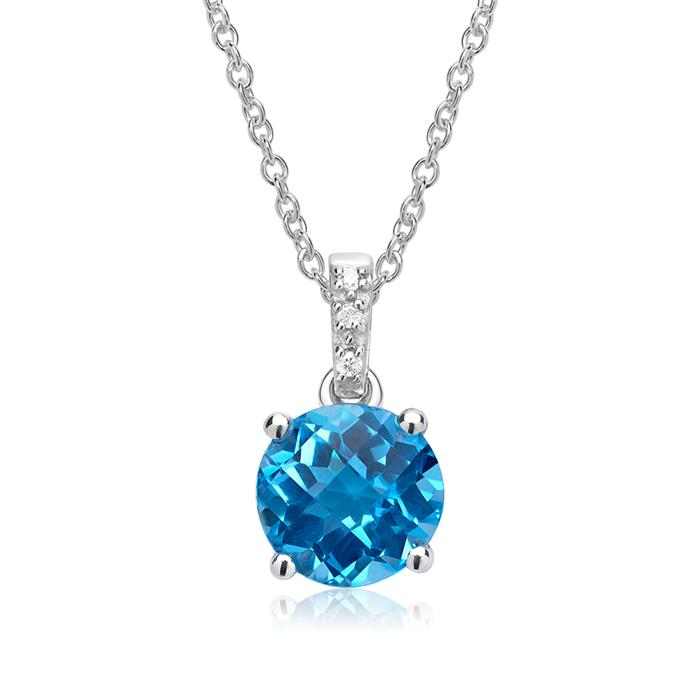 585er Weißgold Anhänger Blautopas 3 Diamanten