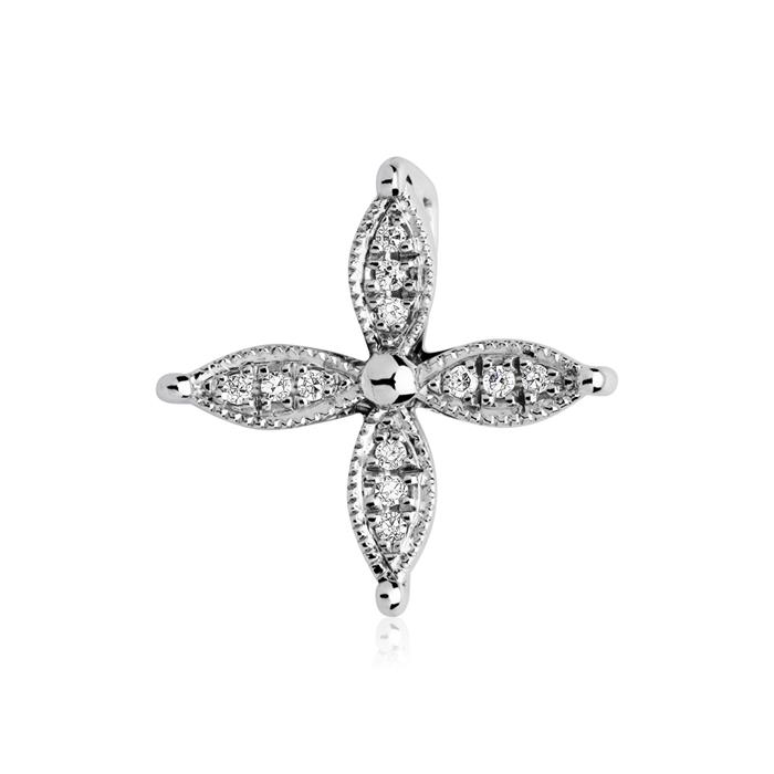 Anhänger Blüte 585er Weißgold 12 Diamanten