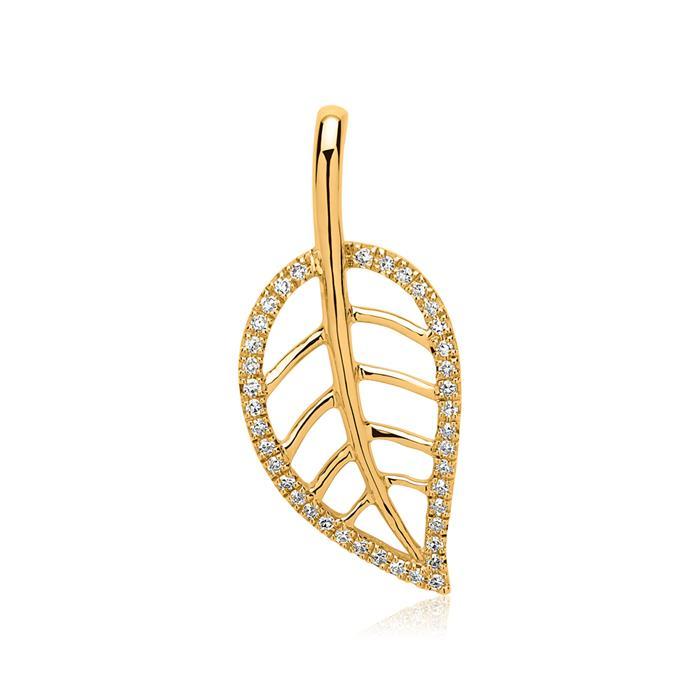 Kette Blatt 14K Gold 39 Diamanten 0,11 ct.