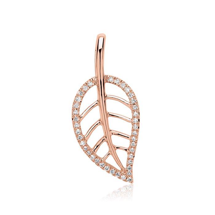 Kette Blatt 14K Roségold 39 Diamanten