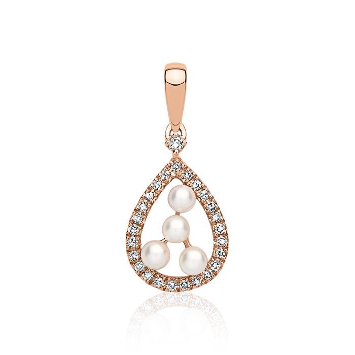 Diamantcollier echte Perle 14K Gold 0,34 ct.