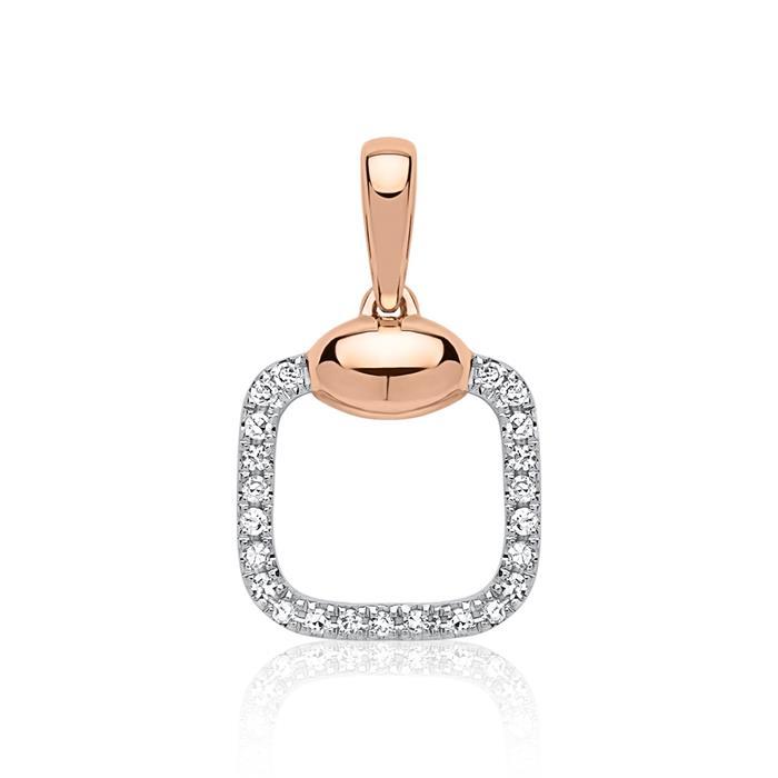 585er Gold Anhänger Diamanten 0,062 ct. roségold
