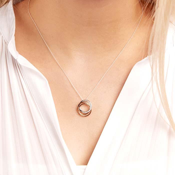 Pendant Necklace 14ct Gold Tricolor Diamonds