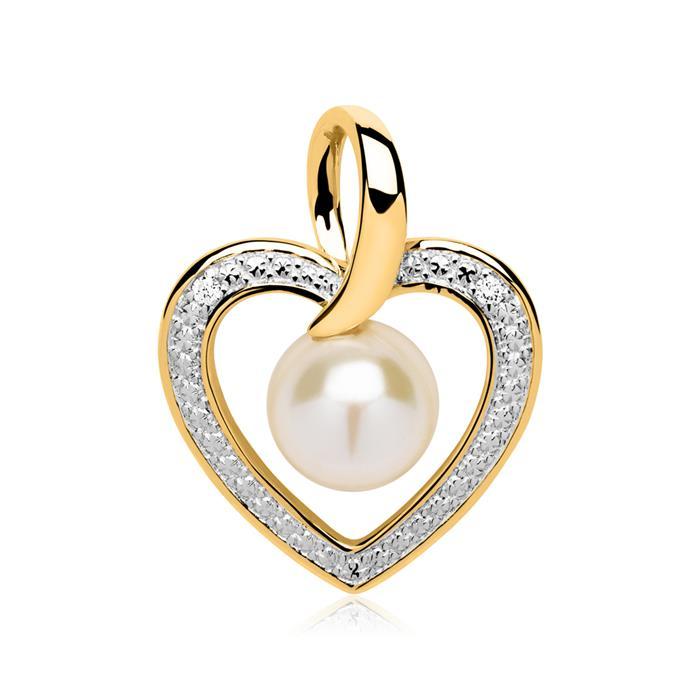Kette Anhänger 585er Gold Perle Diamanten