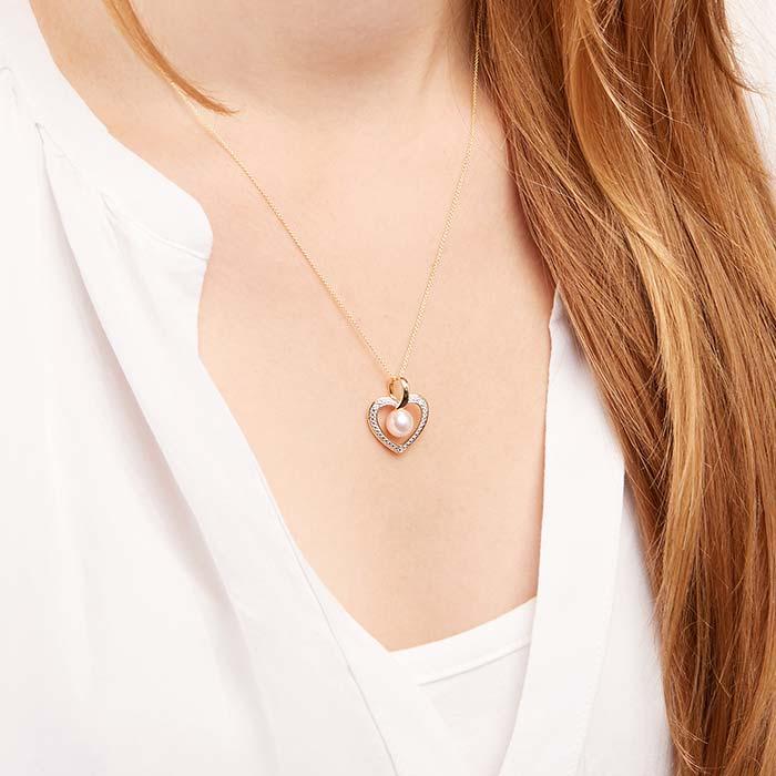 Heart Pendant 14ct Gold Bicolor Pearl Diamonds