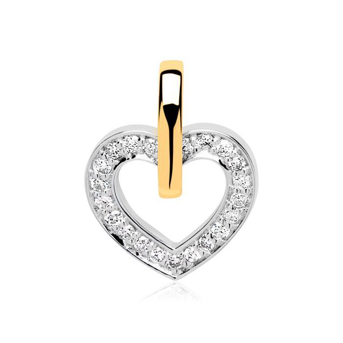 Kette und Herz Anhänger 14K Gold Diamanten