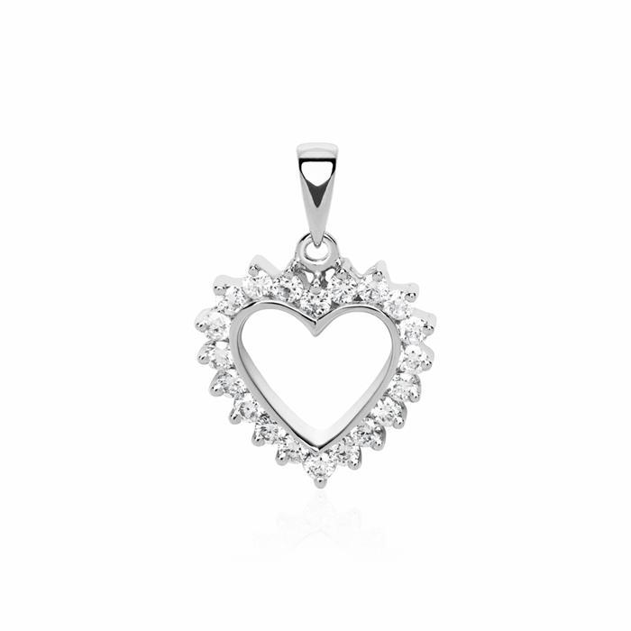 585er Weißgold Herzanhänger 20 Diamanten