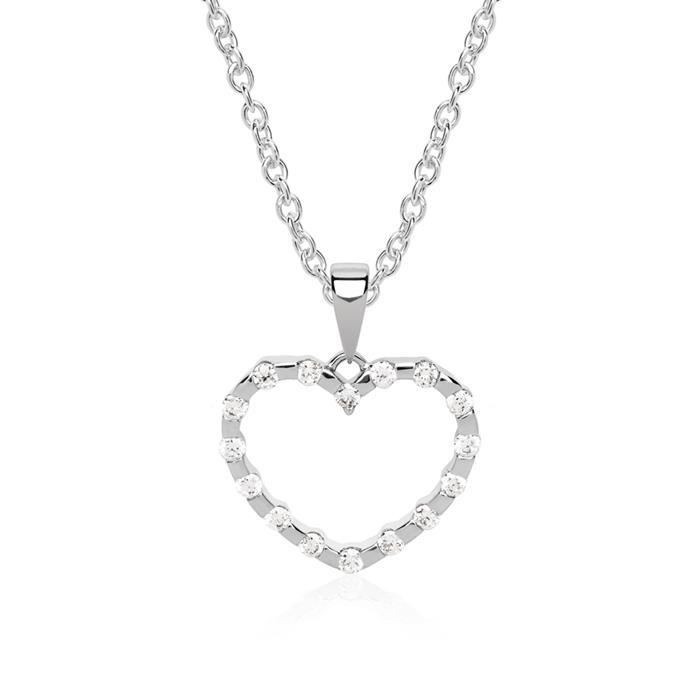 Herzanhänger 14K Weißgold 16 Diamanten