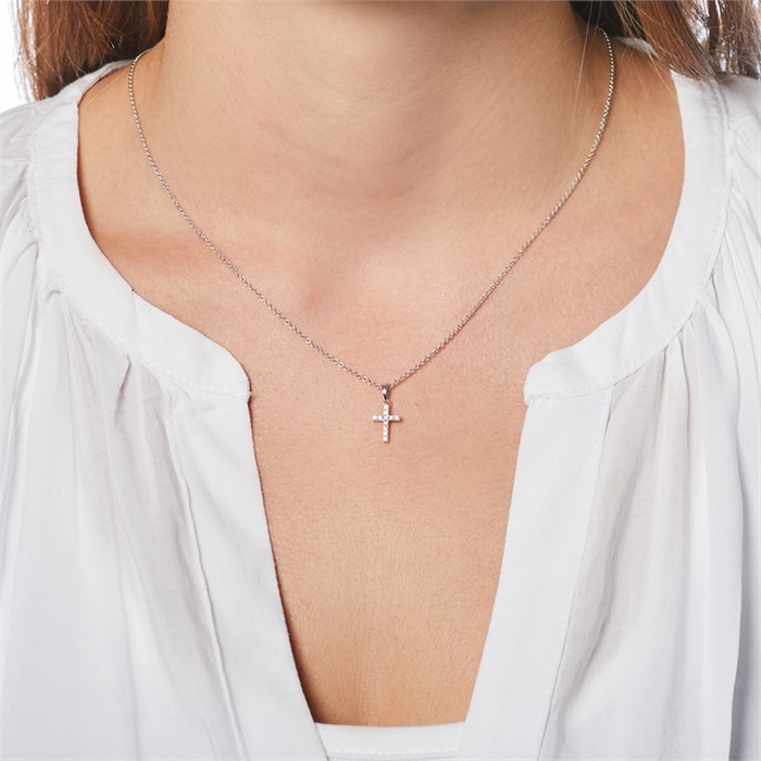 Kreuzanhänger 585er Weißgold Diamant