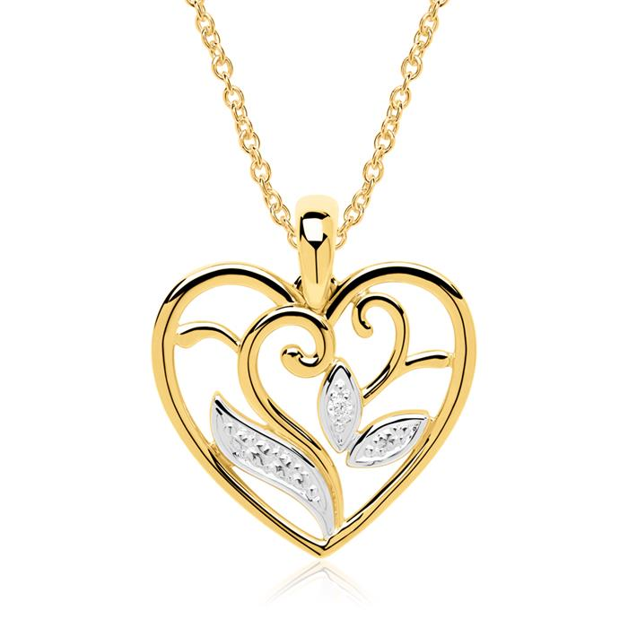Herzkette aus 14-karätigem Gold mit Diamant