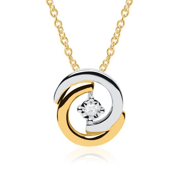 Kreisanhänger aus 585er Gold bicolor mit Diamant