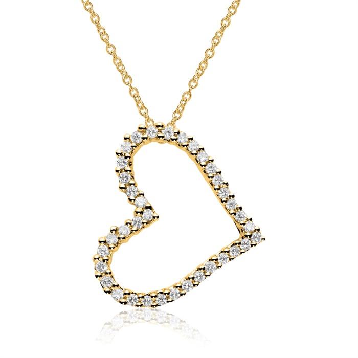 Anhänger Herz aus 585er Gold mit Diamanten