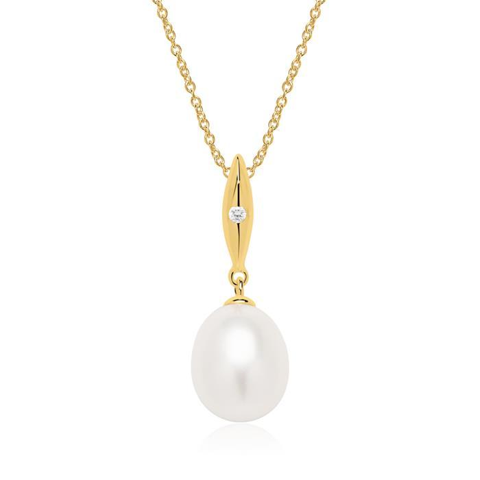 Anhänger aus 14K Gold mit Perle und Diamant