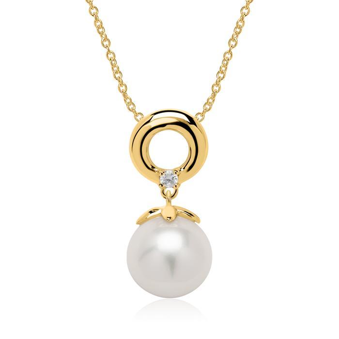 Kette aus 14 Karat Gold mit Perle und Diamant