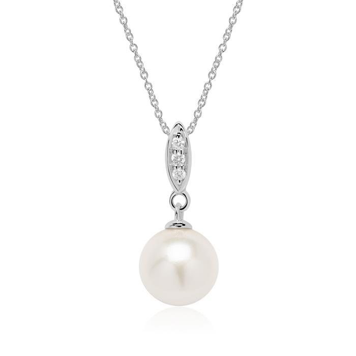 585er Weißgold Kette mit Perle und Diamanten