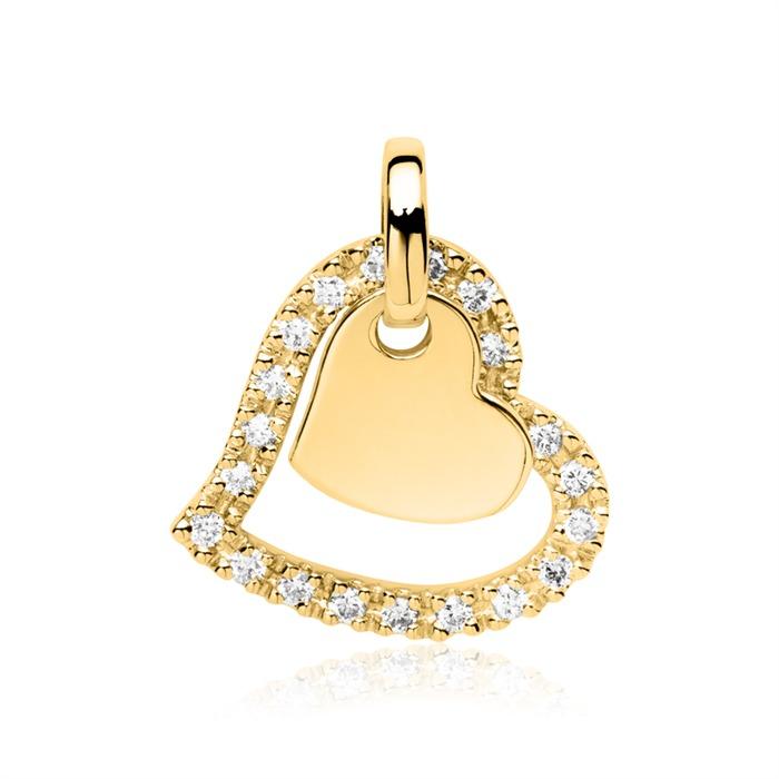Kette Herzen aus 585er Gold mit Diamanten