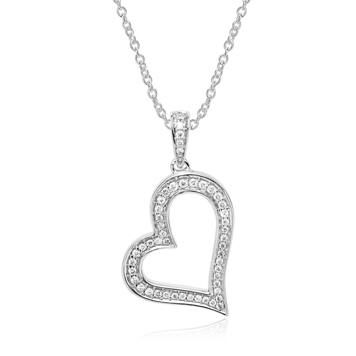 585er Weißgold Herzkette mit Diamanten