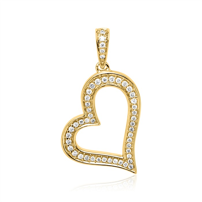 Necklace And Heart Pendant In 14ct Gold With Diamonds
