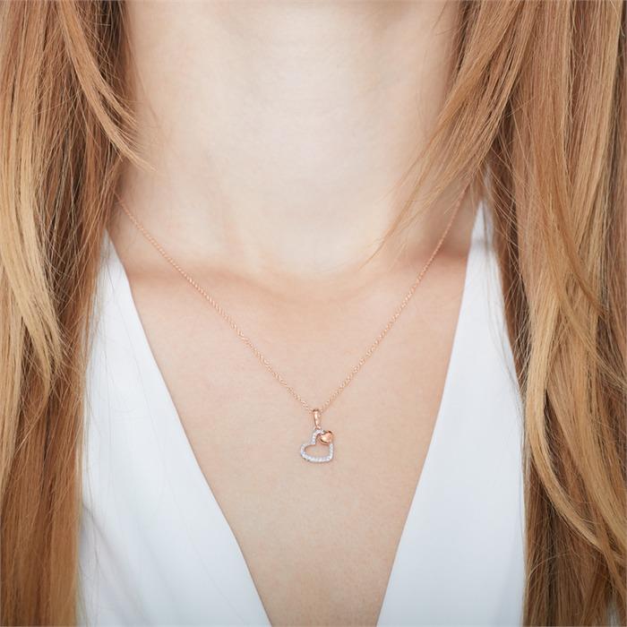 Kette Herzen 585er Rosé- und Weißgold mit Diamanten