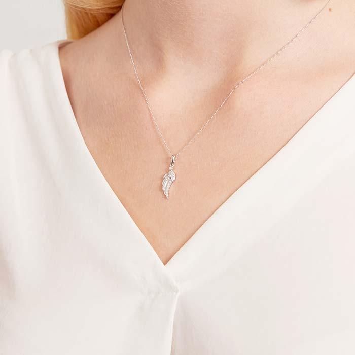 Kette Flügel aus 585er Weißgold mit Diamanten