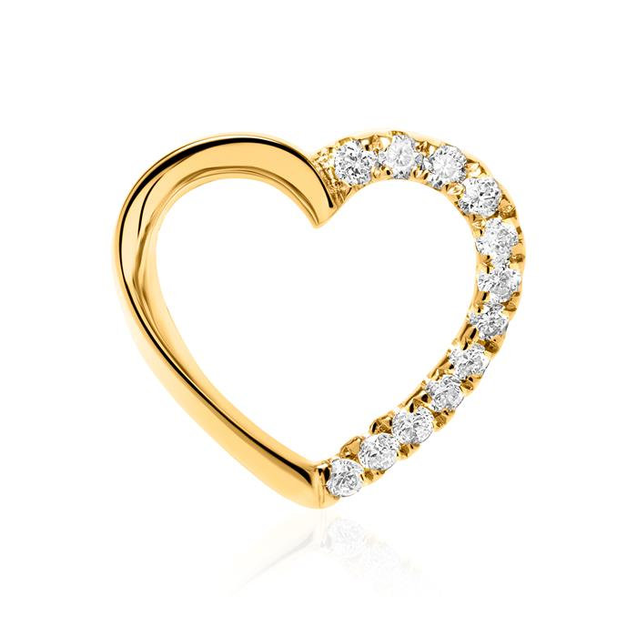 Kette Herz aus 14K Gold mit Diamanten