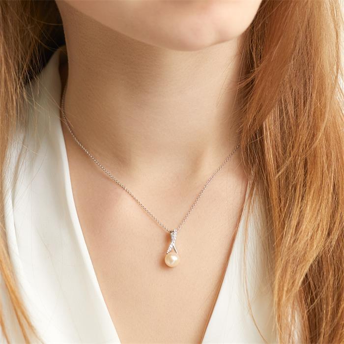 Perlenanhänger aus 14K Weißgold mit Brillanten