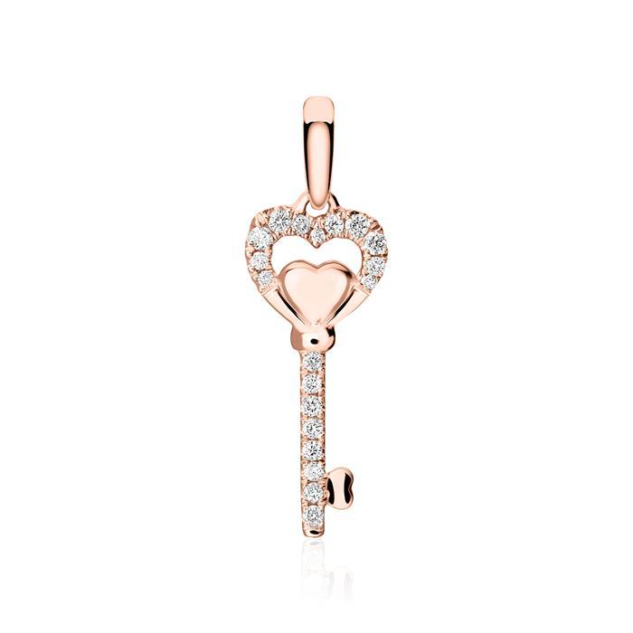 Anhänger Schlüssel aus 14K Roségold mit Diamanten
