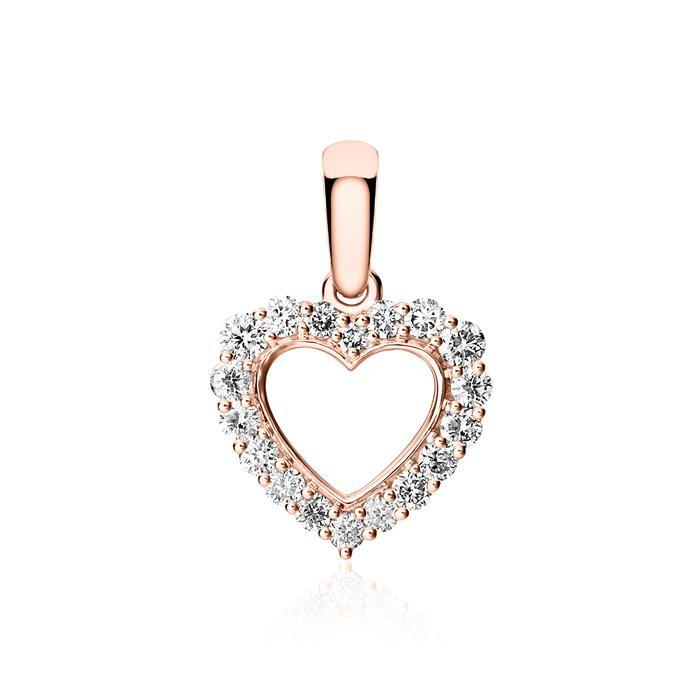 Herzanhänger aus 585er Roségold mit Diamanten