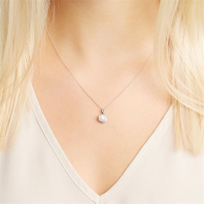 Perlenanhänger aus 585er Weißgold mit Diamanten