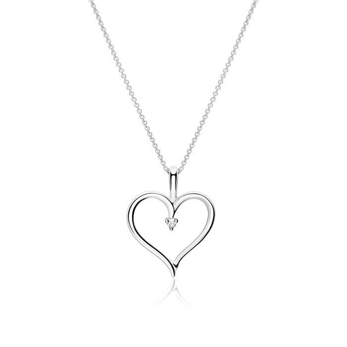 14K Weißgold Herzanhänger mit Diamant