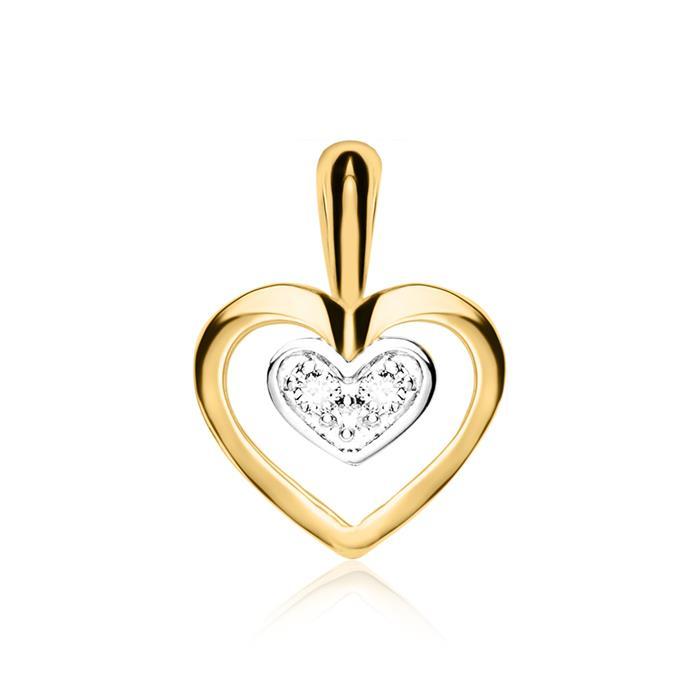 Herzkette für Damen aus 585er Gold mit Diamanten