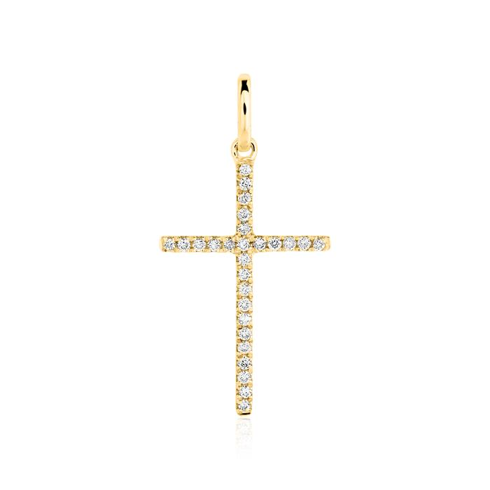 Cross pendant in 14ct gold with diamonds