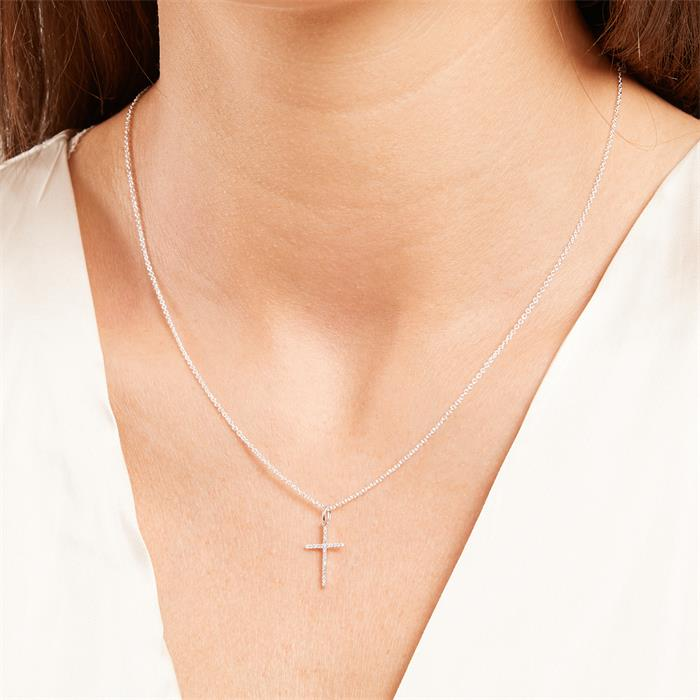 Damen Halskette Kreuz aus 585er Weißgold mit Diamanten