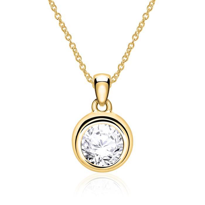 Kette und Anhänger aus 585er Gold mit Diamant
