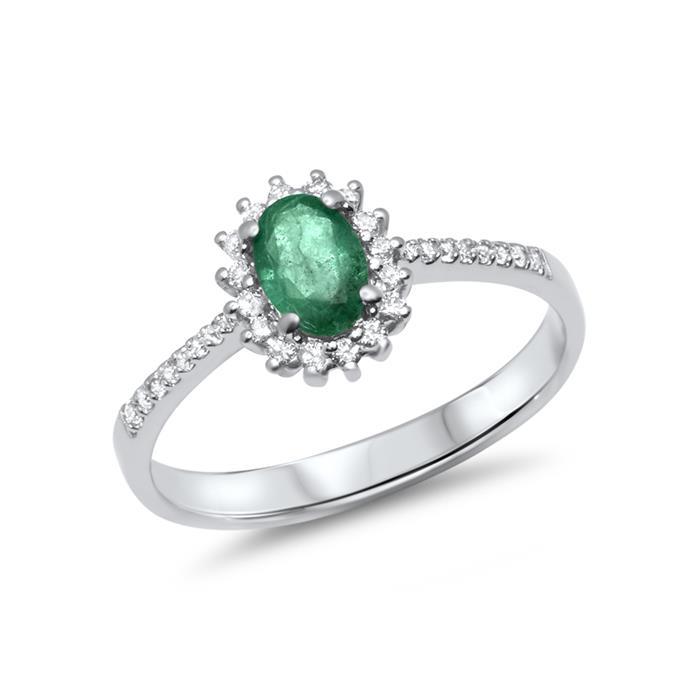Hochwertiger 585er Weissgold Ring mit Smaragd