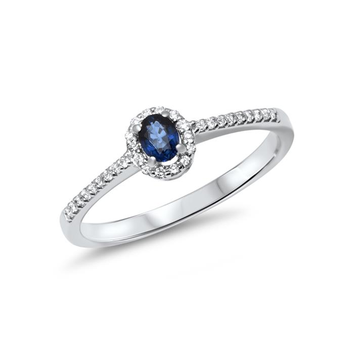 Polierter 585er Weissgold Ring mit Saphir