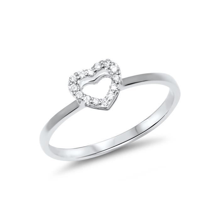 14 Karat Weissgold Ring im Herzdesign