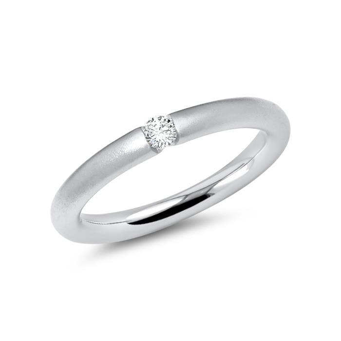 Mattierter 14 Karat Weissgold Ring mit Diamant