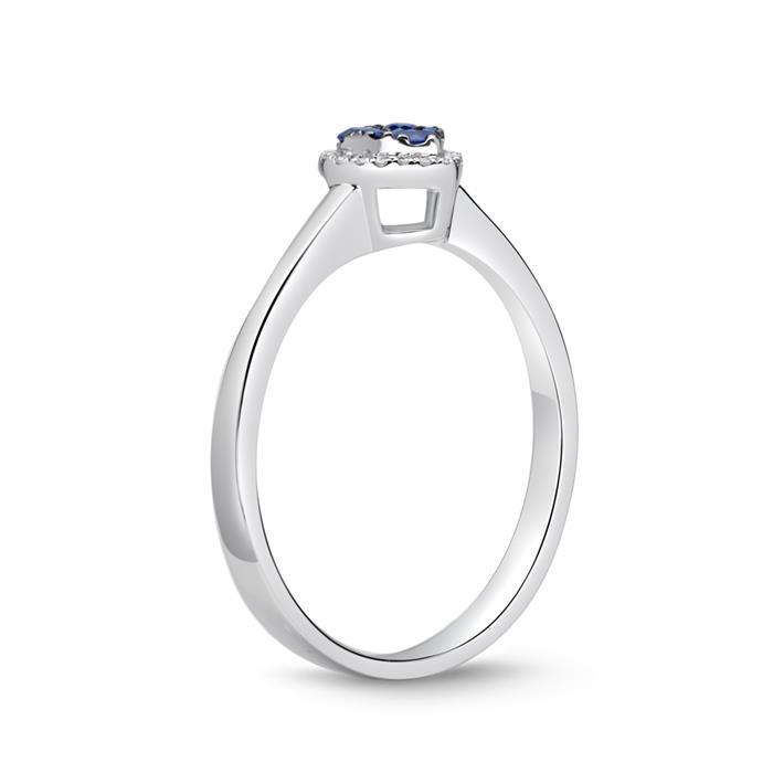 Herzring Saphire und Diamanten 0,21 ct gesamt